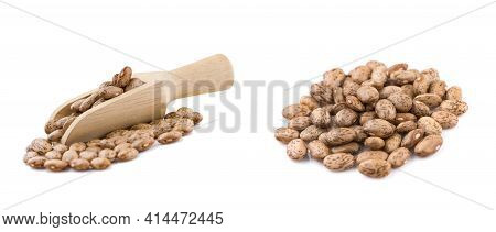 Set Pinto Beans An Isolated On White Background, Top View