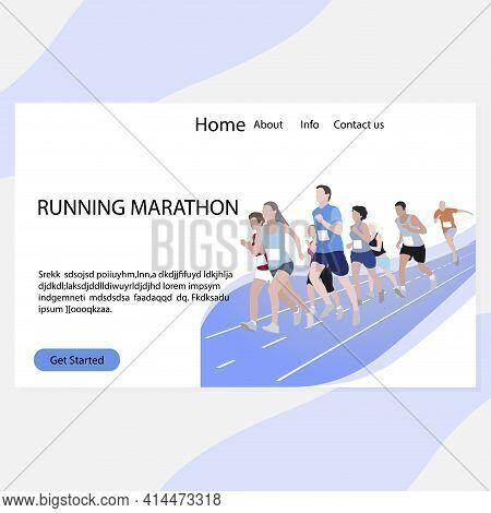 Running Marathon Landing Page. Marathon Competition, Run Exercise, Sport Event, Fitness Runner, Race