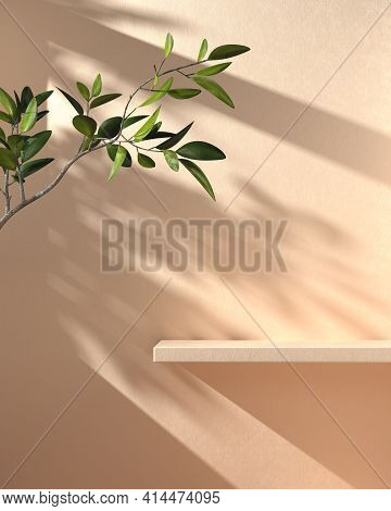 Minimal Mockup Shelf Display With Sunshade Branch Shadow On Beige Concrete Wall Abstract Background