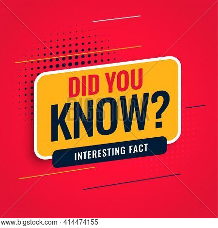 Did You Know Facts Background Vector Template Design