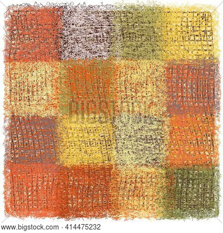 Fluffy Carpet, Rug, Plaid, Mat With Weave Square Elements In Red, Yellow, Green, Grey Colors Isolate