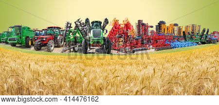 Collage About Farm, Agriculture, Farming. Concept Of Equipment Readiness For Agricultural Work - For