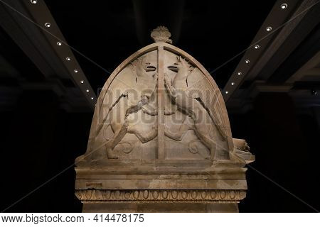 Istanbul, Turkey - January 27, 2021: Lycian Sarcophagus Of Sidon In Istanbul Archaeological Museums