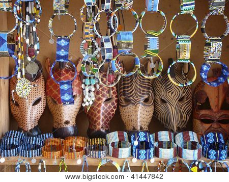 African animal masks and jewellery