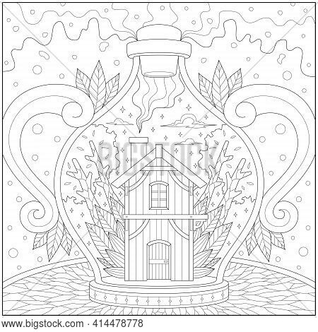 Fantasy And Fancy House And Tree In The Glass Bottle. Learning And Education Coloring Page Illustrat