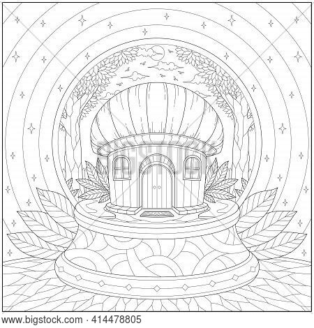 Fantasy Mushroom House With Tree And Plant Inside Glass Ball. Learning And Education Coloring Page I