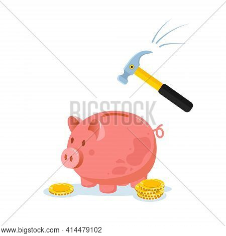Piggy Bank With Hammer Raised Above It To Smash. Spending Money Concept. Financial Symbol. Banking O