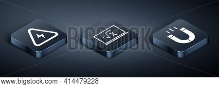 Set Isometric High Voltage, Magnet And Square Root Of X Glyph Icon. Vector