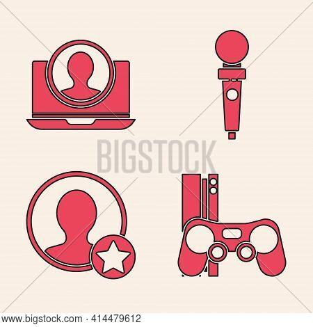 Set Game Console With Joystick, Create Account Screen, Joystick For Arcade Machine And Premium Creat