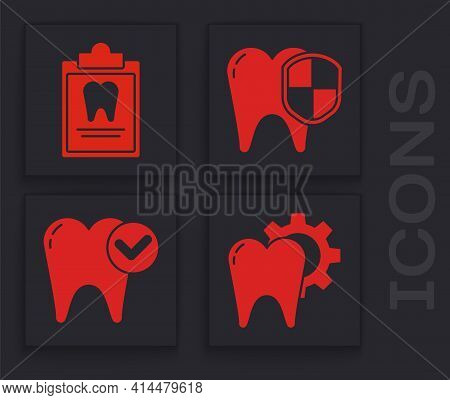 Set Tooth Treatment Procedure, Clipboard With Dental Card, Dental Protection And Tooth Whitening Con