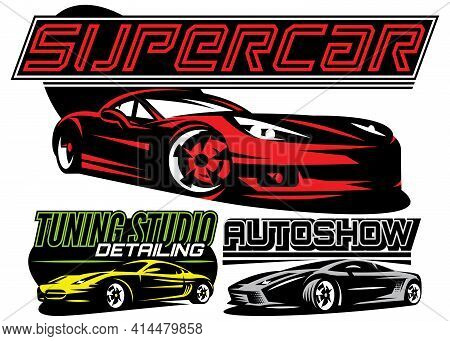 Set Of Color Supercar. Vector Illustration. Editable Template For Business Cards.