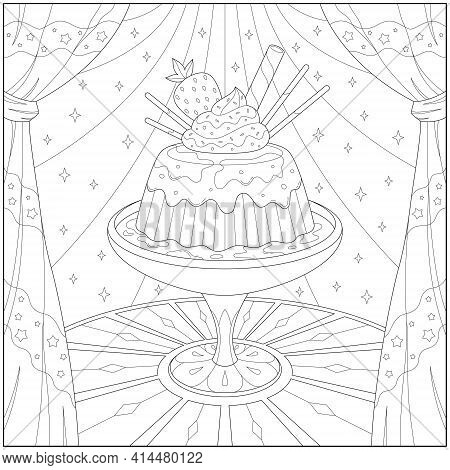 Delicious Ice Cream Pudding With Strawberry On Fancy Glass. Learning And Education Coloring Page Ill