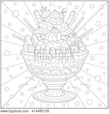 Amazing And Delicious Ice Cream Sundae With Fruit And Pudding. Learning And Education Coloring Page