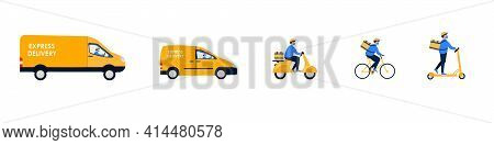 Delivery Set. Online Delivery Service Concept. Order Tracking, Delivery Home And Office. Truck, Car,