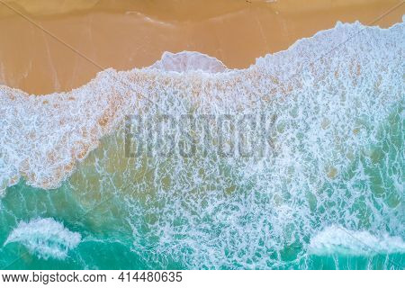 Aerial View Ocean Wave Beach, Beautiful Landscape