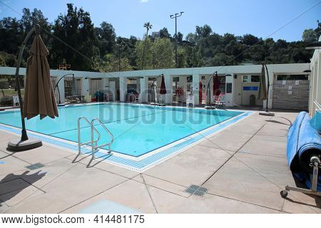 Pasadena CA - MARCH 26, 2021: Rose Bowl Aquatic Center in Pasadena California. Swimming Pool and Recreation Park. Editorial Use Only.