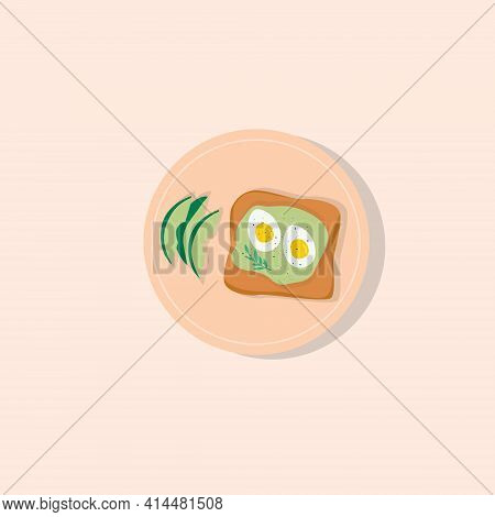 Avocado Toast With Eggs. Fast Healthy Snack For Breakfast, Lunch With Bread, Avocado And Eggs On Pla