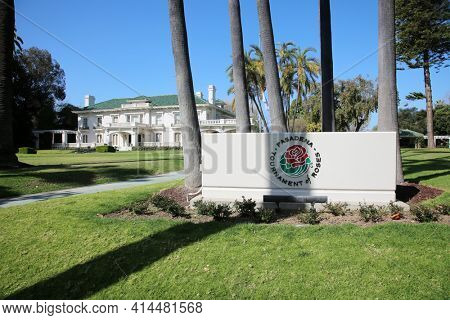 Pasadena, California, USA - March 26, 2021: Tournament House. This location is the permanent headquarters for the Tournament of Roses. Editorial Use Only.