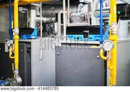 Gas Boilers Boiler Room Plant Tubes Valves