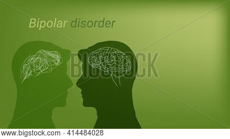 Abstract Contrast Between A Healthy Man And A Patient With Bipolar Disorder. A Metaphor For Tangle A