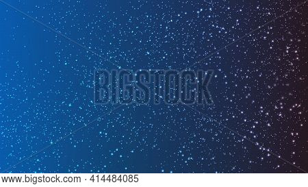 Vector Illustration Of The Night Sky. Design Of The Infinite Cosmos. Background With Shimmering Shin