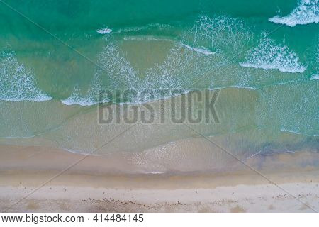Aerial Drone View White Sandy Beach Wave Vacation Concept