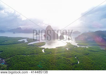 Aerial View Sea And River In Tropical Mangrove Green Tree Forest With Fog