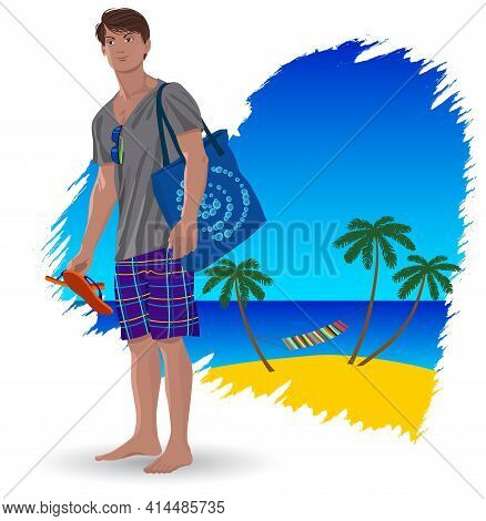 Image Of A Young Man On Vacation At Sea Vector Illustration