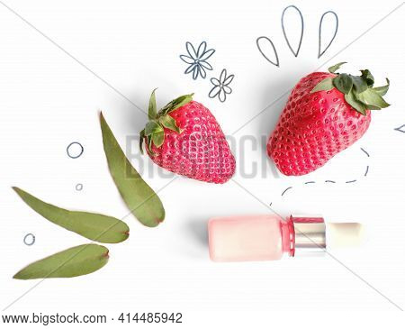 Natural Organic Strawberry Face Cream. Brightening, Whitening And Antioxidant Skin Care. Natural Cos
