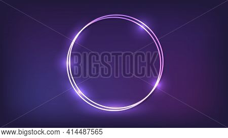 Neon Double Round Frame With Shining Effects On Dark Background. Empty Glowing Techno Backdrop. Vect
