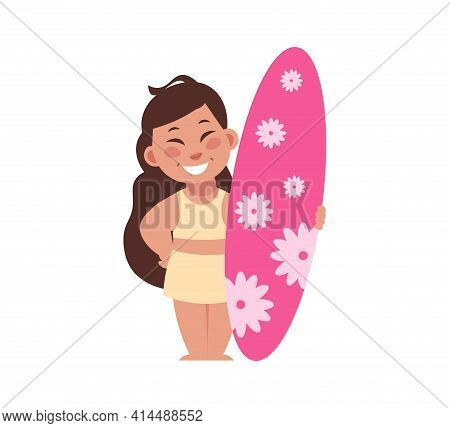 Girl At Beach. Cartoon Woman Standing With Surf. Happy Smiling Teenager Holding Surfboard. Cute Fema