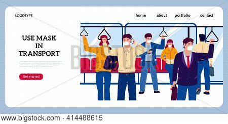 Public Transport Landing Page. Crowd In Subway Or Bus Wearing Protective Masks. Website Interface. C