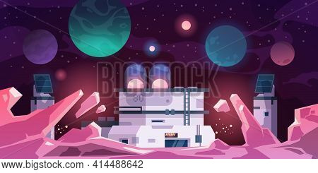 Alien Colony. Astronaut Base On Stranger Planet. Cartoon Landscape With Futuristic Constructions. Sc