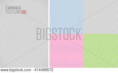 Fabric Pattern Set. Thread Texture. Canvas Background. Linen Fabric. Burlap Backdrop. Textile Struct