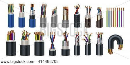 Realistic Wires. Flexible Electric Cables With Different Isolation Types. 3d Coaxial Bundles Of Twis