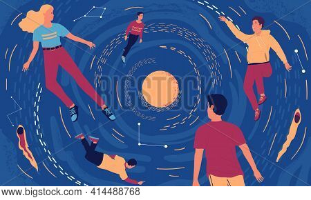 People In Cosmos. Cartoon Young Men And Women Floating In Universe. Relaxation And Mind Expansion Co