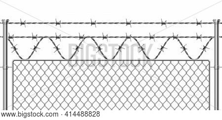 Barbwire Fence. Realistic Metal Military Border For Secured Territory. Metallic Mesh Fencing Section