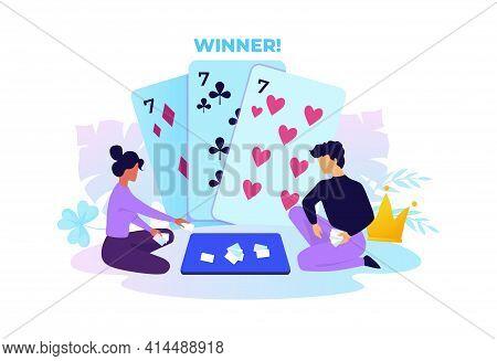 Card Game. Cartoon People Playing Gambling. Winning Poker Hand. Gamble Concept. Man And Woman Sittin