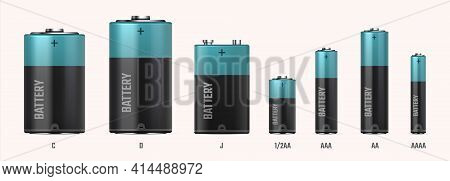 Battery Types. Realistic Electric Alkaline Cells. 3d Different Size Or Capacity Accumulators In Row.