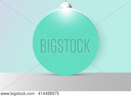 3d Realistic Empty Studio Room With Green Circle Backdrop And Lamp On Soft Green Mint Background And