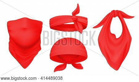 Red Bandana. Realistic 3d Headbands. Ways To Wear Scarf On Head And Neck. Isolated Tied Kerchiefs Te