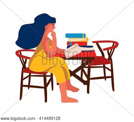 Woman Reading Book At Home. Girl Sitting On Chair At Table. Female Enjoying Of Literary Work Or Stud