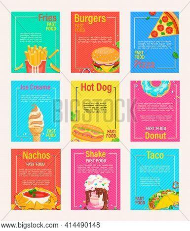 Big Set Of Fast Food Shop Menu Pages For Cafeteris, Restaurant, Bistro.flyers, Banners Of Fries, Piz