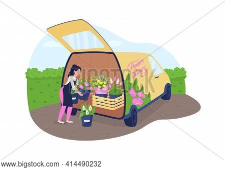 Florist With Flowers Truck 2d Vector Web Banner, Poster
