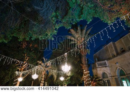 Crystal Chandeliers Hang From A Garland Between Palm Trees At Night. Decorating An Open-air Wedding