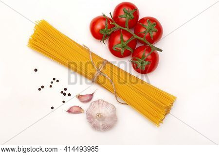 Pasta Spaghetti Ingredients Isolated On White Table Top View