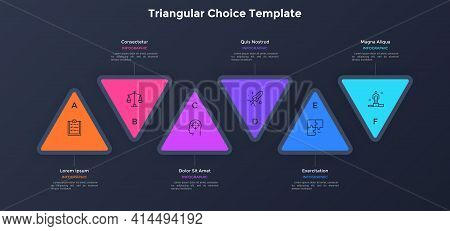 Six Colorful Triangular Elements Placed In Horizontal Row. Concept Of 6 Options To Choose Or Select.