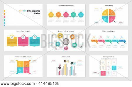 Collection Of Presentation Slides - Column Graph, Pizza Chart, Process And Matrix Diagrams, Mind Map