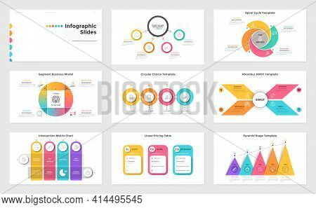 Collection Of Presentation Slides - Swot Chart With Rhombus Elements, Matrix And Cycle Diagrams With