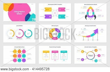Collection Of Presentation Slides Or Pages - Circular Matrix Chart, Pricing Table, Pie Diagram, Spac